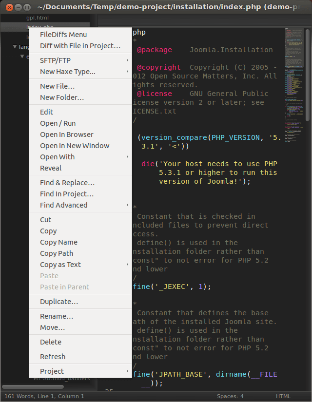 Плагин SideBarEnhancements для Sublime Text 2