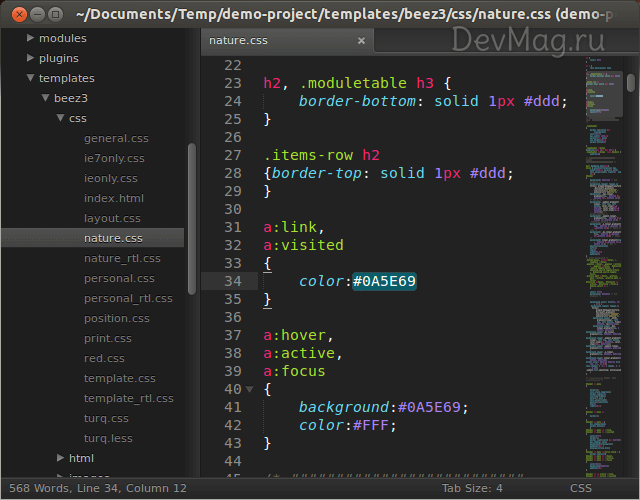 Плагин ColorHighlighter для Sublime Text 2
